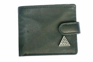Snooker-triangle-Leather-Wallet-pewter-emblem-BLACK-or-Brown-snooker-Gift-335