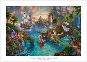 Thomas-Kinkade-Disney-Peter-Pan-039-s-Never-Land-18-x-27-S-N-Limited-Edition-Paper