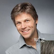 Handsome Short Toupee Fluffy Inclined Bang Hair Capless Natural Wavy Wig For Men