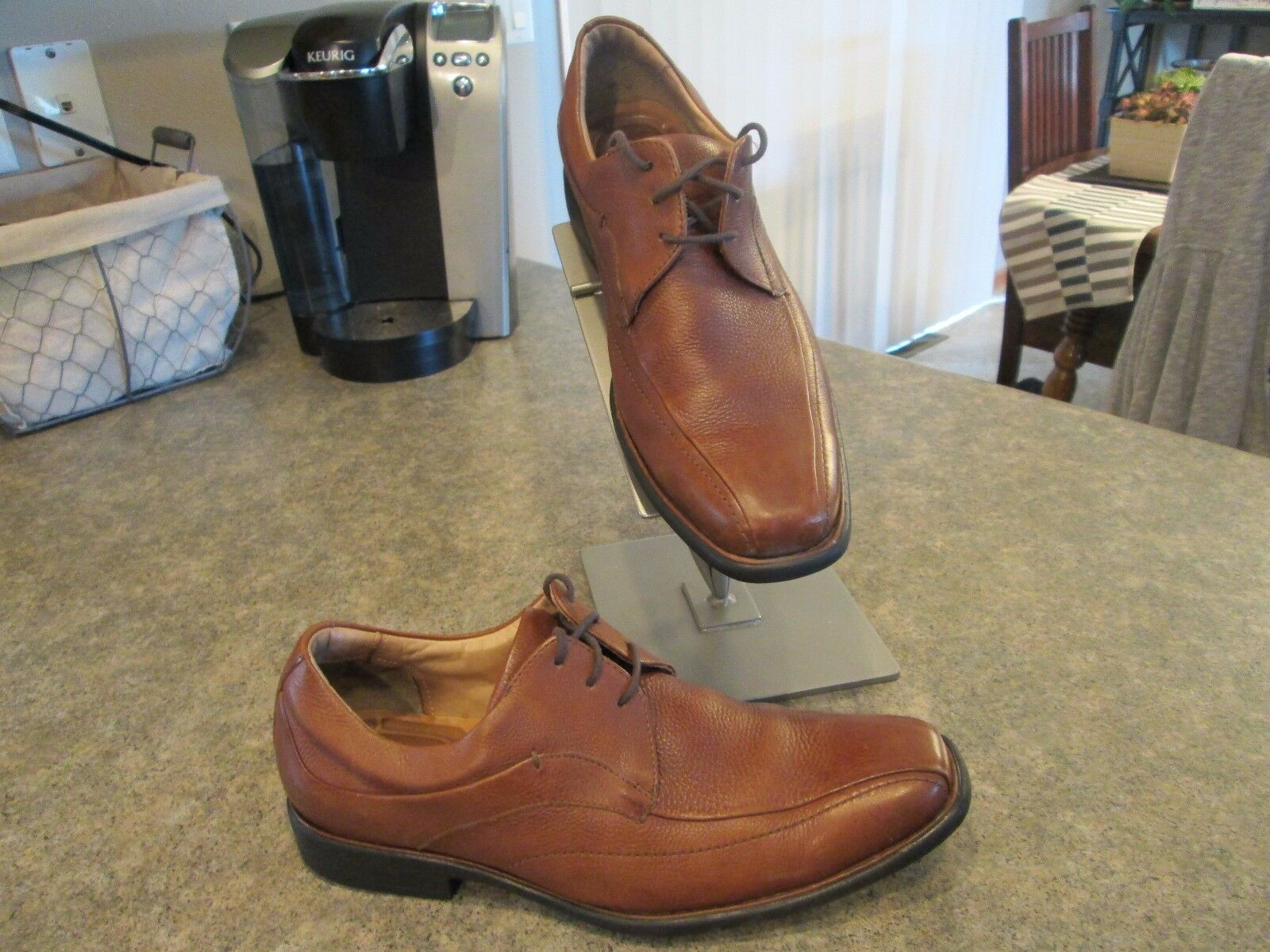 Mens Johnston & Murphy TILDEN Lace Up Brown Leather Dress shoes Size 9.5 GREAT
