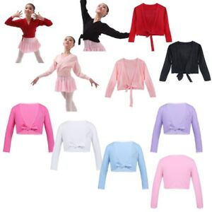 1b2496921b71 Girls Kid Childrens Ballet Cardigan Top Crossover Knot Wrap Knitting ...