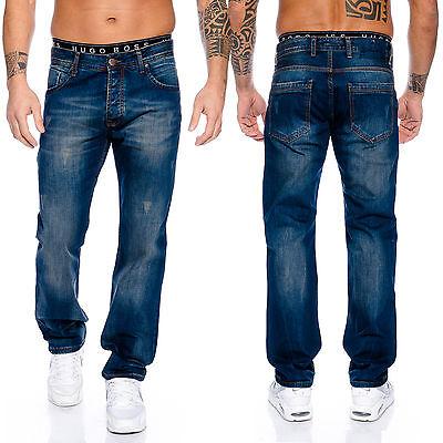 Rock Creek Designer Jeans Pantaloni Uomo Taglio-dritto Gamba Dritta Clubwear