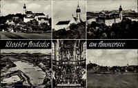 1962 Stempel DIESSEN auf AK Ammersee Kloster Andechs s/w Mehrbildkarte gelaufen