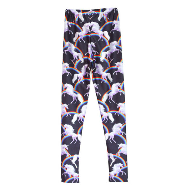 Rainbows & Unicorns semi satin leggings - 8-18 UK unicorn black cute kawaii yoga