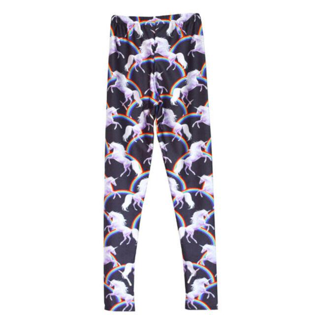 Rainbows & Unicorns semi satin leggings - 8-18 UK unicorn black cute kawaii yoga