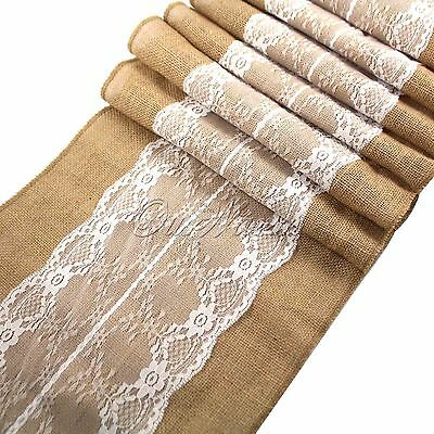 Retro Jute Rustic Burlap Lace Hessian Table Runner Wedding Banquet Table Decor