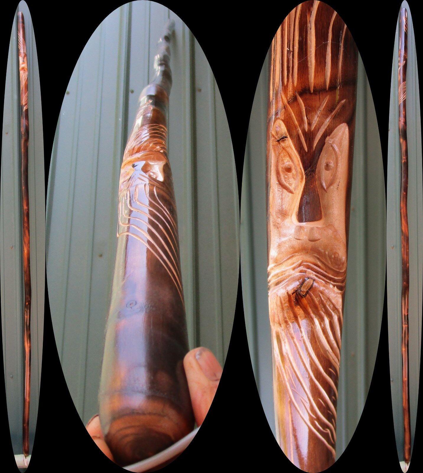 83 Sassafras autoved Face Torched Finish Trekre Walre Stick Cane Staff