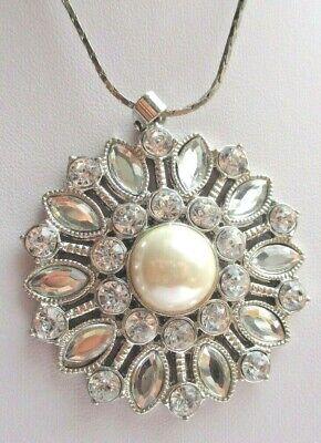 Pendentif Bijou Rétro Chaine Couleur Argent Cristal Diamant Cabochon Perle 1785