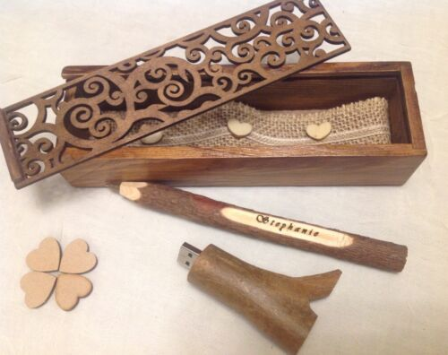 ENGRAVED WOODEN  PERSONALIZED PEN AND USB STICK set IN WOODEN BOX Perfect GIFT