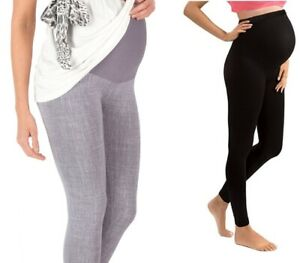 Maternity-Pregnancy-Cotton-Leggings-Trousers-Yoga-Full-Length-Cropped-Size-8-18
