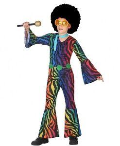 Deguisement-Garcon-Disco-Multicouleur-10-11-12-Ans-Enfant-Annees-1980-NEUF
