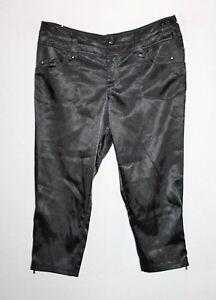 HANFEISE-Brand-Black-Zip-Bottoms-Silky-Crop-Pants-Size-M-L-BNWT-TD52