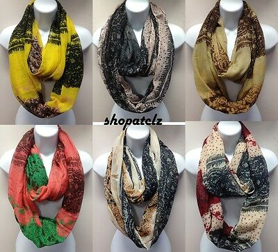 fashion simple elegant pattern infinity eternity loop scarf 6 colors