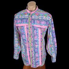Vtg 80s CRAZY PATTERN Button Front Shirt Mandarin Collar Pink Western Gay Rodeo