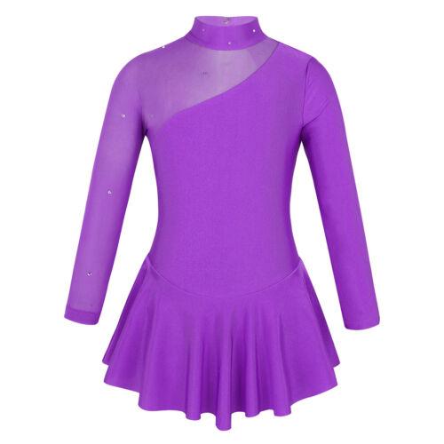 UK Girls Ice Skating Roller Skating Dress Leotard Ballet Dance Wear Show Costume
