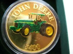 1-OZ.JOHN DEERE MODEL 6400 TRACTOR CHRISTMAS GIFT.999 PROOF EDT SILVER COIN+GOLD