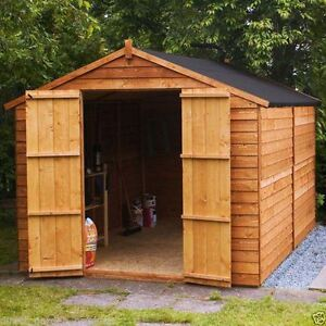 Details About 10x8 Wooden Garden Shed Apex Windowless Double Doors Wood Sheds 10ft X 8ft Store