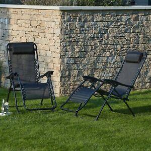 ⭐ Conjunto de 2 negro tumbona reclinable de gravedad cero sillas de Helsinki ✅ ✅ poste libre