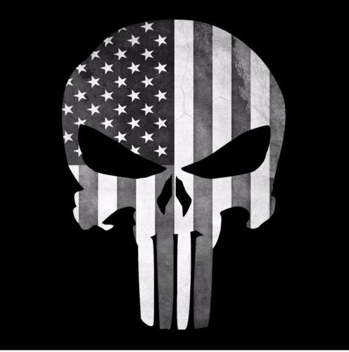 Decal Sticker Graphic Black and White Punisher Skull American Flag