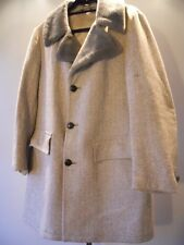 Vintage 50s Sears Gray Chevron Tweed Winter Wool Jacket Coat Fake Fur Collar 38