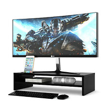 Wood Monitor Stand TV PC Laptop Computer Screen Riser 54cm Width 2 Tiers Black