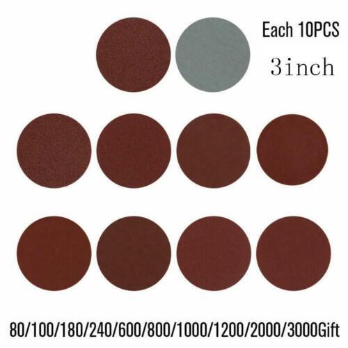 100Pcs Sanding Discs Polishing Pads Kit Round Sandpaper Hook Loop 80-3000 Grit