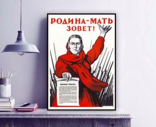 "Soviet Vintage WW2 War Propaganda poster print /""THE MOTHERLAND CALLS/"" USSR CCCP"