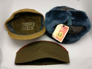 Set-3-Military-Officer-Hats-USSR-One-Size-56-Authentic-Soviet-Army-NOT-USED