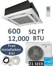 21 SEER 12000 BTU Ductless Mini Split Air Conditioner Heat Pump CEILING CASSETTE