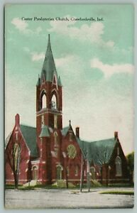 Crawfordsville-Indiana-Center-Presbyterian-Church-Tower-with-Steeple-c1910