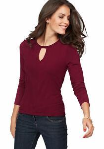 Aniston-Langarmshirt-mit-Cut-out-Ausschnitt-bordeaux-NEU-KP-25-99-SALE