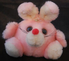 """Bunny Rabbit Poly Pink White Red Nose Russ Vintage Plush Bean Bag Ball  6"""" Toy"""