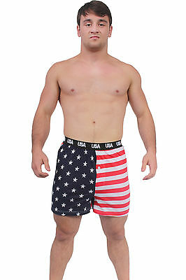 MEN'S RED WHITE BLUE BOXER SHORTS AMERICAN FLAG USA PRIDE STAR/STRIPES S-XL
