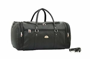 NEW-Strong-Mens-Holdall-Leatherette-Weekend-Travel-Bag-Black-KS9000