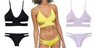 vollständige Palette von Spezifikationen Super günstig offizielle Fotos Details zu NEU H&M Bustier Bikini Cut out lila schwarz gelb 34 36 38 40  Cups herausnehmbar