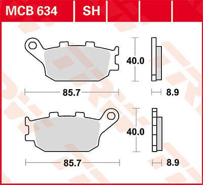 Plaquettes de frein Arrière TRW Lucas MCB 634 Suzuki GSF 650 S Bandit WVCZ 09-12