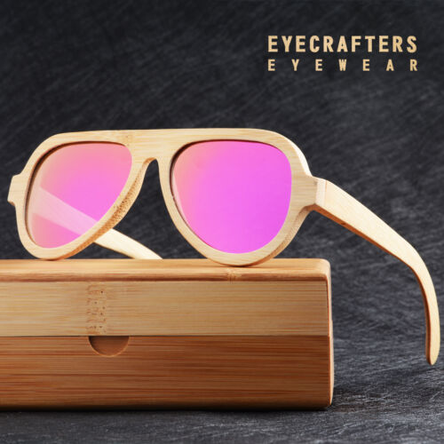 Mens Wooden Retro Vintage Mirrored Wooden Sunglasses Shades Polarized Sunglasses