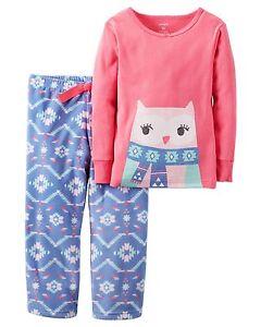 08643b96d Carter s Toddler Girls 2-Piece Cotton   Fleece Pajamas - Large Owl ...