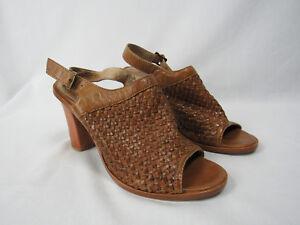 Knöchelriemen Brown Leather Frye Dicker Absatz Gr Sofia Sandalen 11 Woven q7pnwHR