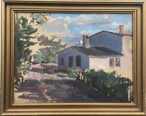 Dänischer Maler Jens Rasmussen Hedegaard 1866-1948 Blick auf ein Haus 40 x 50