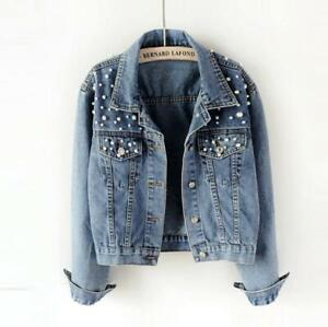 Chic-Womens-Washed-Old-Blue-Pearls-Denim-Jacket-Casual-Jean-Short-Slim-Fit-Coats