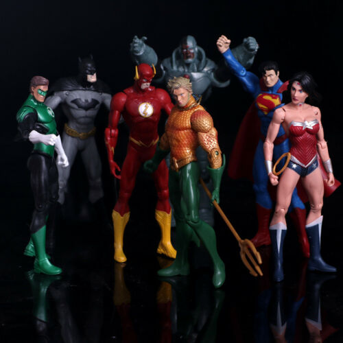 7 Pcs//lot DC Justice League Superman Batman The Flash Aquaman Action Figure Toy