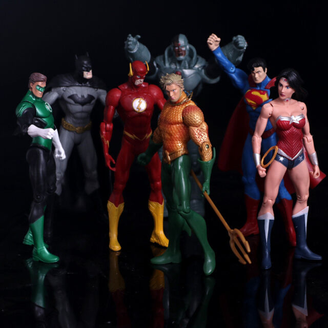 7 Pcs//lot DC Justice League Superman Batman The Flash Aquaman Action Figure Toy