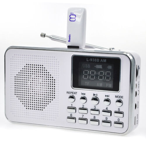 Digital FM AM Radio World Band Supper Bass Mini Speaker AUX USB TF W// LED Light