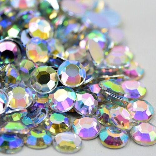 Reverso plano Pedrería Cristales Pegamento En Acrílico Piedras Redondas de 8 lados Multi Faceta
