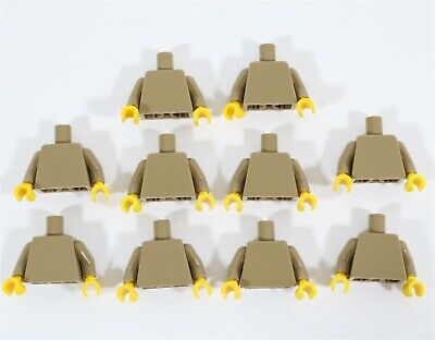 NEW LEGO DARK TAN TORSO X10 PART YELLOW HANDS EWOK CITY MINIFIGURE FEMALE MALE