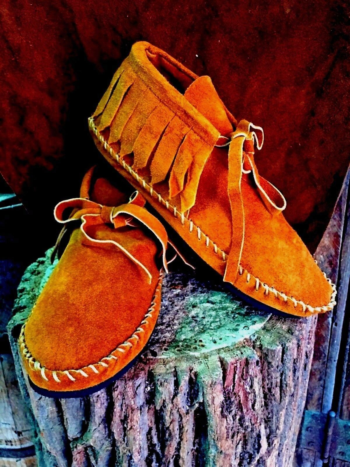Soft Suede Moccasins low boot Women Western Indian fringe Saddle Pawnee all size