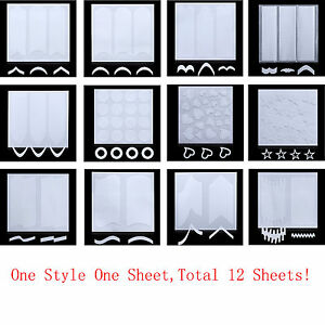 1 Set French Manicure DIY Nail Art Tips Guides Stickers Stencil Strips 12 Sheets