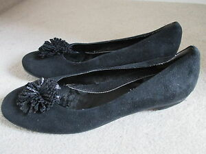 Ladies Suede Shoes New Black 8 Affect Flat Size 1pw41xq