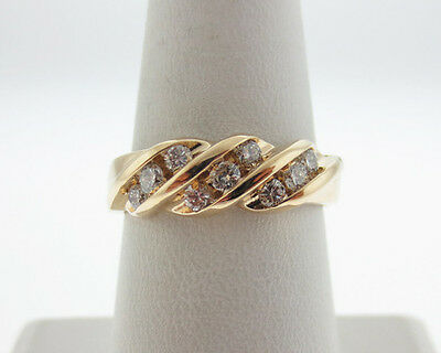 Estate 0.50ct Genuine Diamonds Solid 14k Yellow Gold Ring 6.5mm Band
